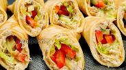Фото рецепта Блинчики с риетом и овощами. Видео