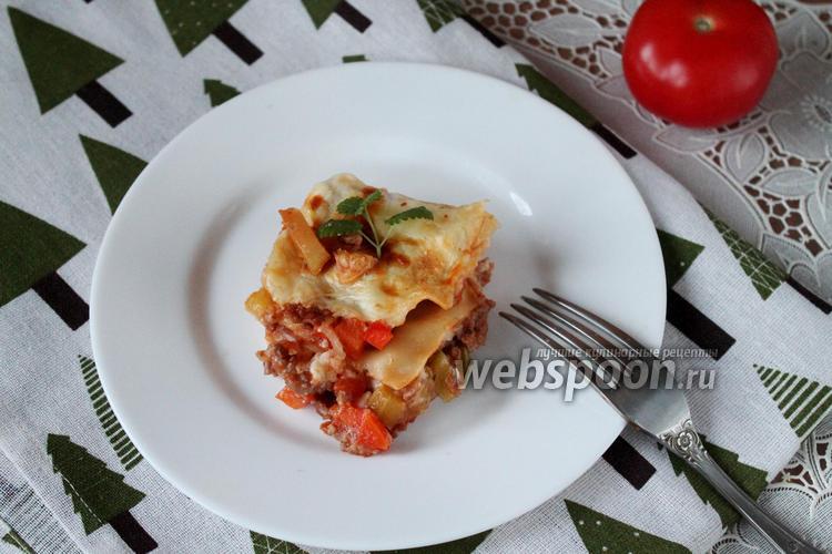 Фото Лазанья с фаршем и овощным рагу
