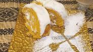 Фото рецепта Тыквенный рулет со сливочным кремом