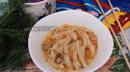 Фото рецепта Яичная лапша с курицей и овощами в томатном соусе