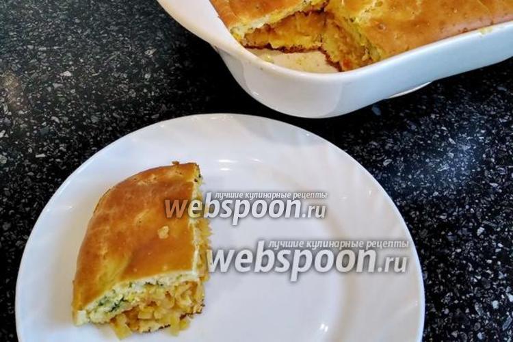 Фото Заливной пирог с тушёной капустой и яйцом