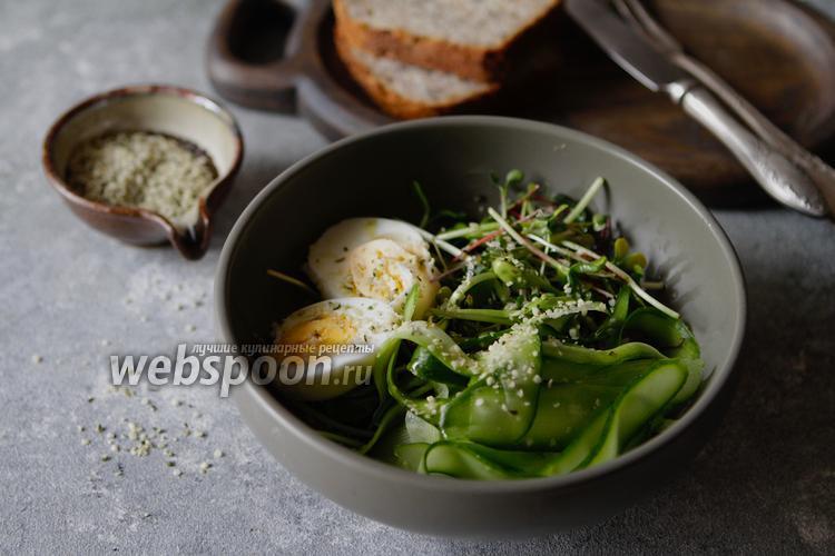 Фото Салат из микрозелени с яйцом и огурцом