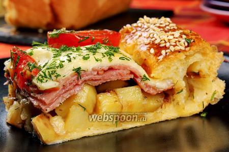 Слоёный пирог с колбасой, картофелем и сыром моцарелла. Видео-рецепт видео рецепт