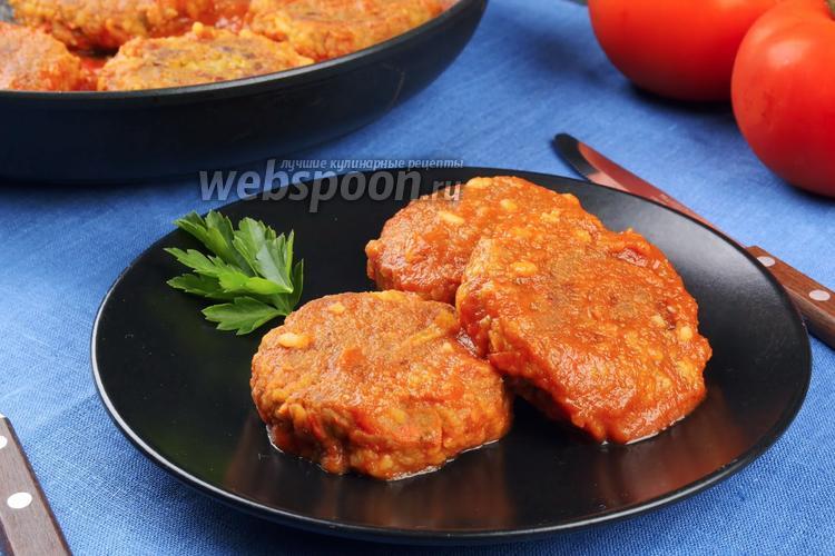 Фото Постные тефтели из чечевицы в томатном соусе. Видео-рецепт