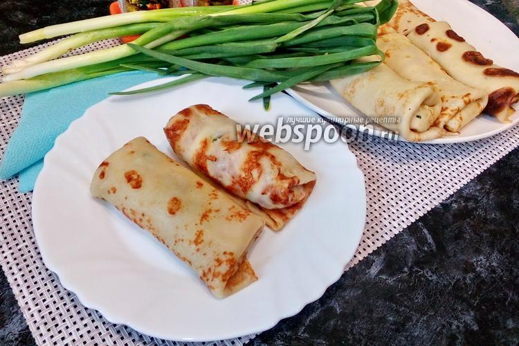 Фото Блинчики с яйцом, сыром и зелёным луком