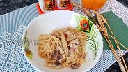 Фото рецепта Спагетти с шампиньонами, грудинкой и сливками