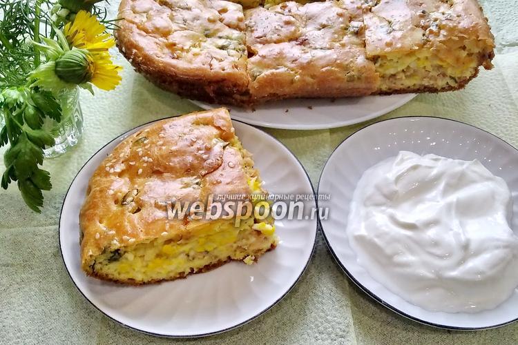 Фото Заливной пирог с консервированной горбушей и яйцами