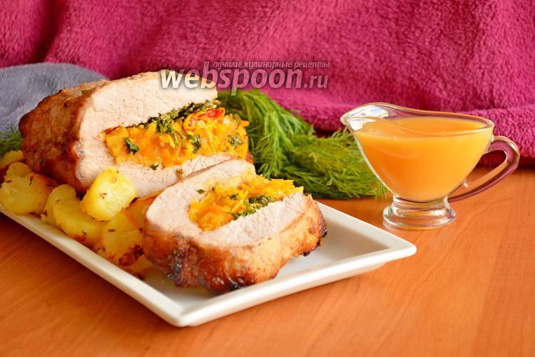 Фото Свиная корейка запечённая в духовке с курагой