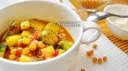 Фото рецепта Томатное рагу с брюссельской капустой и нутом