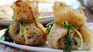 Фото рецепта Блинные мешочки с печенью и грибами