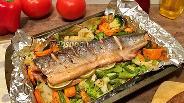 Фото рецепта Горбуша запечённая с овощами в духовке