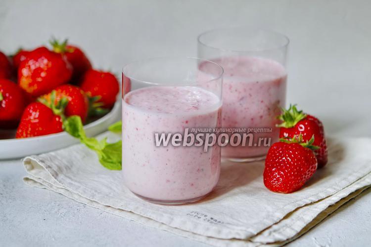 Фото Клубнично-мятный молочный напиток