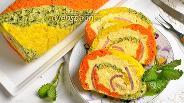 Фото рецепта Трёхцветный рулет с ветчиной
