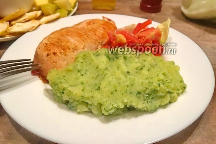 Фото Зелёное картофельное пюре со шпинатом