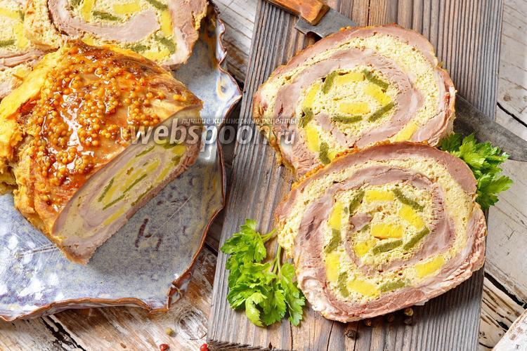 Фото Рулет из свиной шеи в сметанно-горчичном маринаде