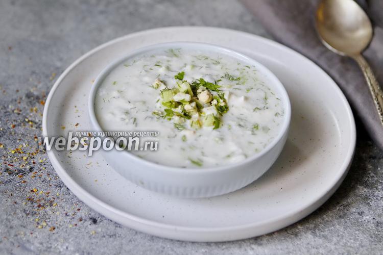 Фото Окрошка овощная на кислом молоке и каймаке