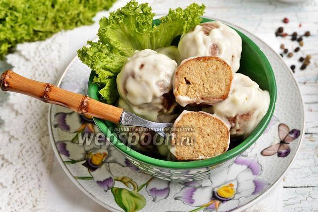 Фото Грибные крокеты в сметанном соусе