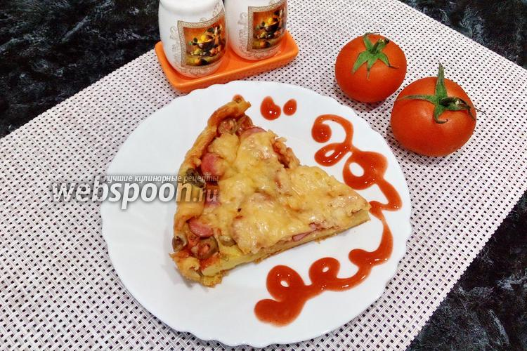Фото Пицца на майонезе с сосисками и маслинами