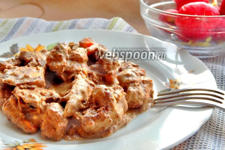 Фото Куриная печень тушёная с сыром