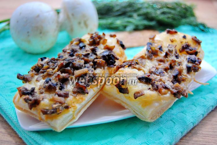 Фото Быстрые слойки с грибами и сыром