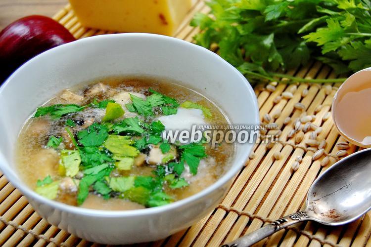 Фото Суп с грибами, тефтелями и ячменём