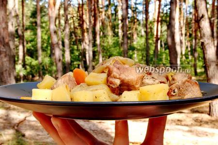 Картошка с мясом в банках на костре. Видео видео рецепт