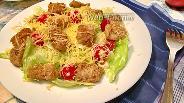 Фото рецепта Салат с минтаём в панировке
