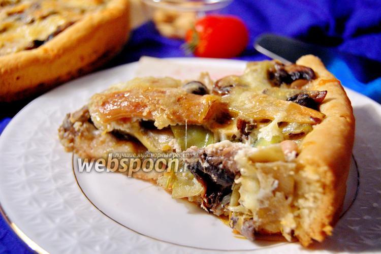 Фото Пирог с грибами и стручковой фасолью