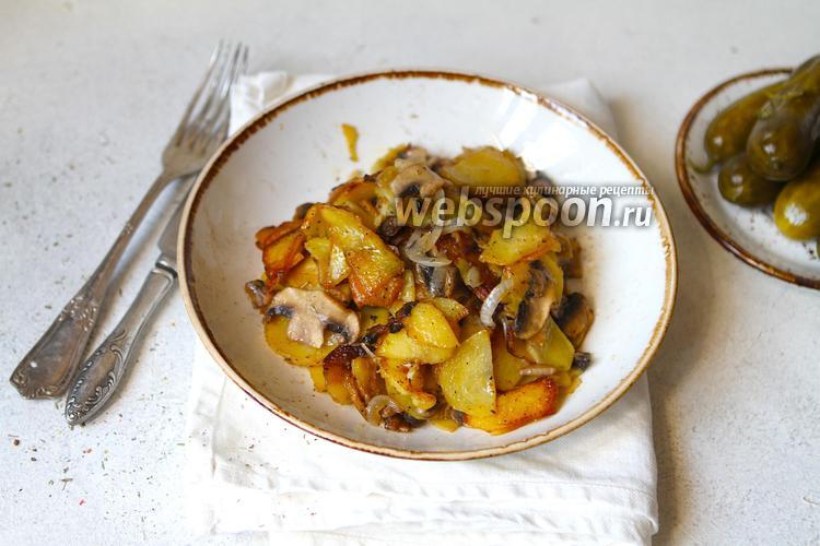 Фото Жареная картошка с шампиньонами