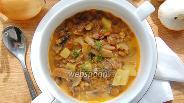 Фото рецепта Томатно-сливочный суп с грибами и зелёной чечевицей