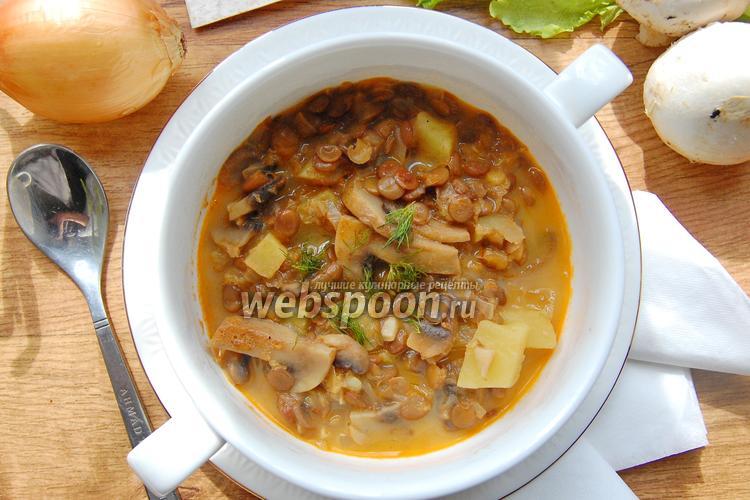 Фото Томатно-сливочный суп с грибами и зелёной чечевицей
