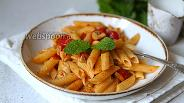 Фото рецепта Паста пенне с шампиньонами и томатами