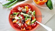 Фото рецепта Летний салат с помидорами, огурцами и болгарским перцем