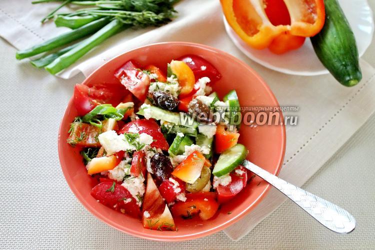 Фото Летний салат с помидорами, огурцами и болгарским перцем