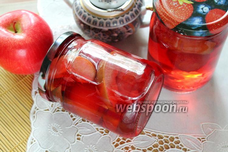 Фото Компот из грейпфрута и яблок со сливами на зиму