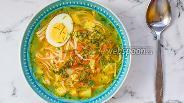 Фото рецепта Суп Удон с курицей и яйцом