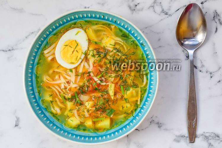 Фото Суп Удон с курицей и яйцом