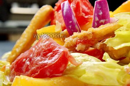 Салат с хрустящими баклажанами. Видео видео рецепт