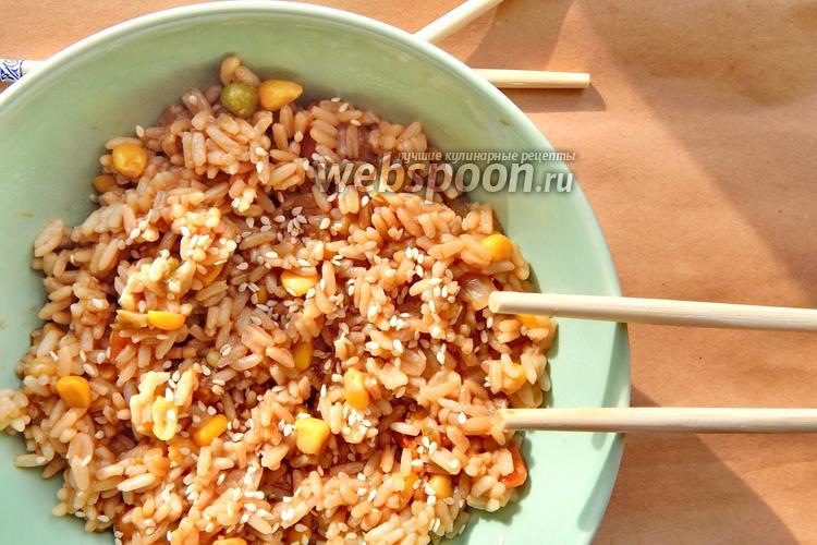 Фото Рис по-азиатски с овощами и соевым соусом