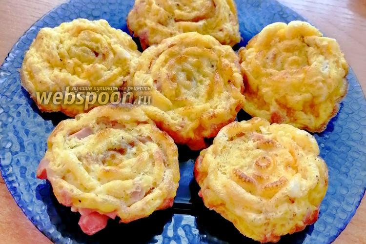 Фото Яичные маффины с колбасой и сыром