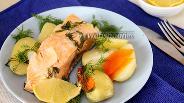 Фото рецепта Сёмга с молодым картофелем в пароварке
