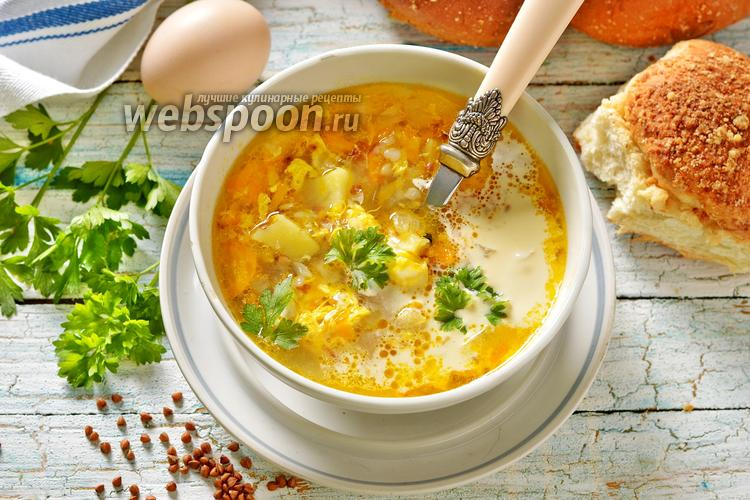 Фото Суп с гречкой и яйцом