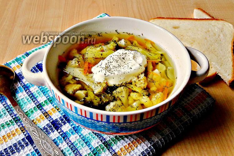 Фото Суп из брокколи и цветной капусты