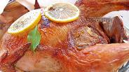 Фото рецепта Запечённая курица с мандарином и розмарином