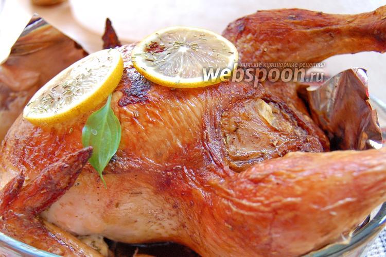 Фото Запечённая курица с мандарином и розмарином