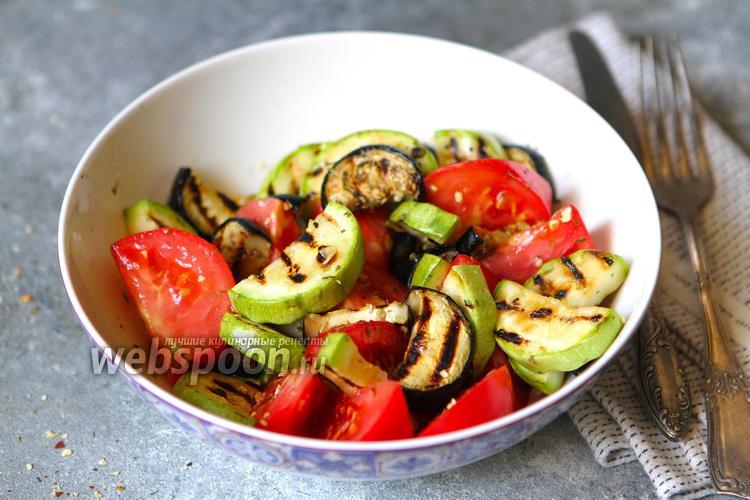 Фото Салат из кабачков, баклажанов и помидоров
