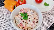 Фото рецепта Салат с грудинкой, сыром и болгарским перцем