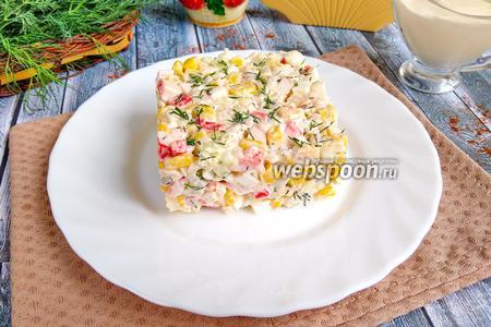 Фото рецепта Крабовый салат с рисом в яблочном уксусе