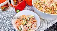 Фото рецепта Салат с копчёным окорочком и болгарским перцем