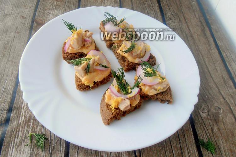 Фото Бутерброды с печенью трески и джемом
